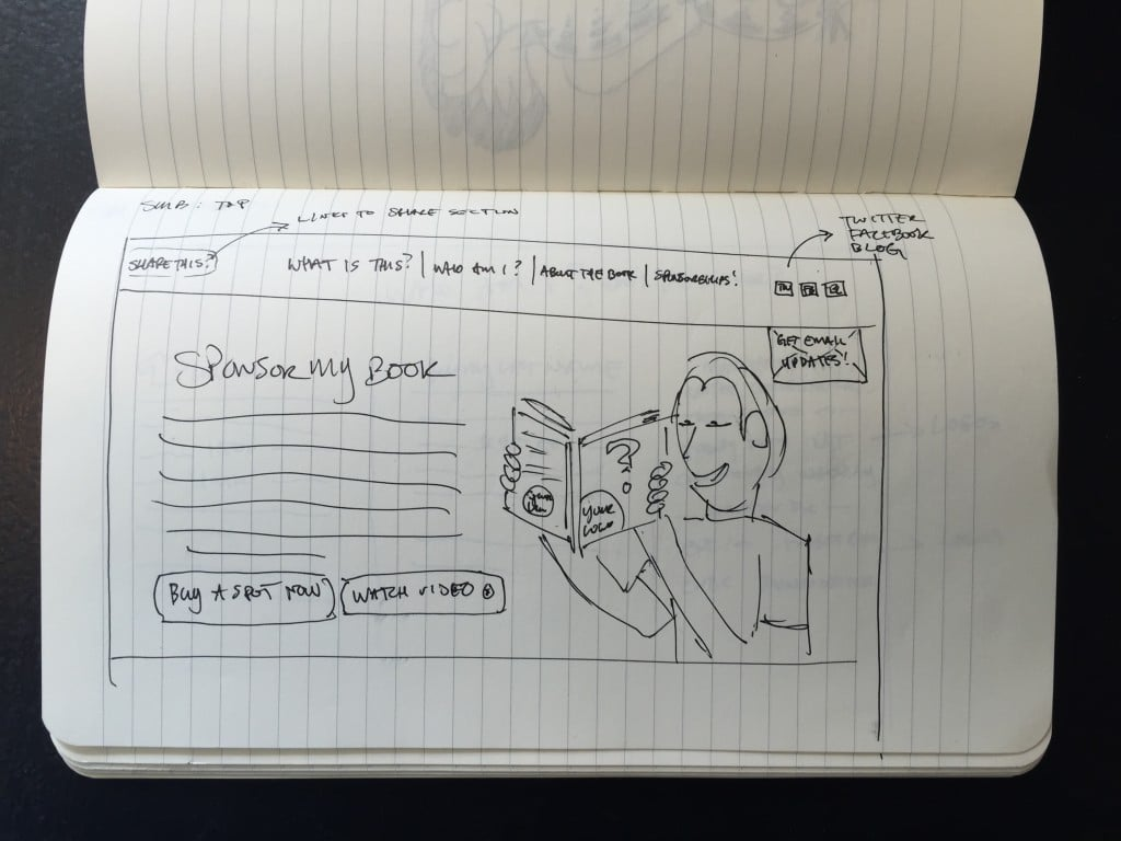 Early SponsorMyBook website sketch